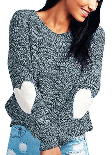 Las nuevas mujeres sueltan el suéter hecho punto del codo del corazón del remiendo sólido de manga larga jersey de punto casual Jumper