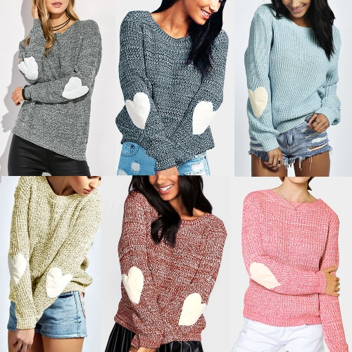 New Women Loose Knitted Sweater Elbow Heart Patch Solid Long Sleeve Casual Knit Pullover Jumper