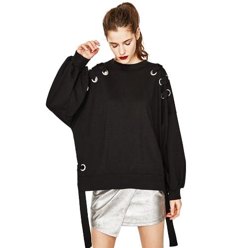 Frauen Hoodie Sweatshirt Pullover aushöhlen Ösen Band lange Ärmel lose Pullover Casual Tops Outwear