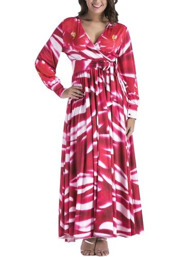 Vestido largo plisado de las mujeres en la cintura alta de la manga larga impresa del V-Cuello