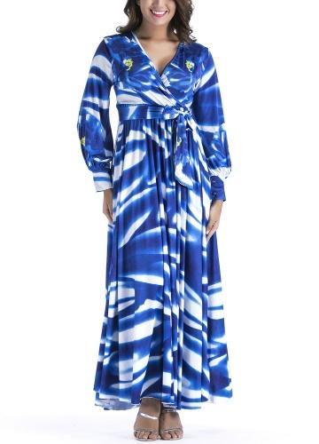 Frauen Plissee Maxikleid in Print V-Ausschnitt Langarm Hohe Taille