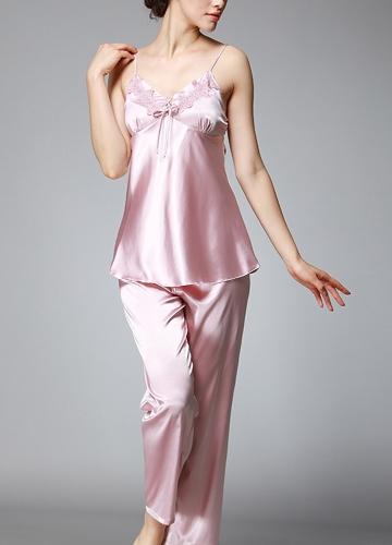 Traje de noche de satén de seda de las mujeres Badydoll Pants Kimono albornoz camisón de dormir