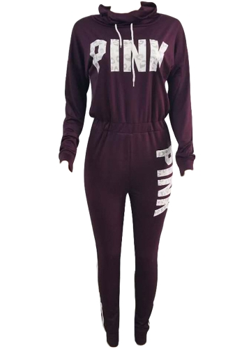 Mulheres Jumpsuit Letter Print Turtleneck Back Zipper Sport Fitness Casuais Playsuit Rompers