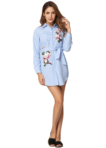 Frauen Gestreiftes Hemd Kleid Floral Gestickte Applique Button Down Taillengurt Casual Bluse Shirt Dress
