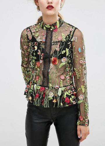 Camisa de malha feminina Bordados florais Transparente Top transparente Alto pescoço Ruffle Long Sleeve Blusa Top Verde