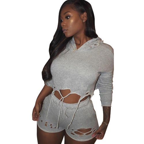 New Women Two Piece Outfits Hooded Sweatsuit Cropped + Pants Hole Hip Hop Bodysuit Cinza