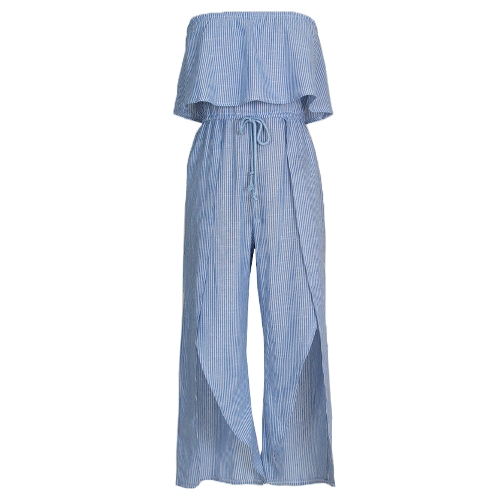 Mulheres Macas listrados Off Shoulder Rompers Ruffle Boho Beach Casual Macacões Playsuit Blue