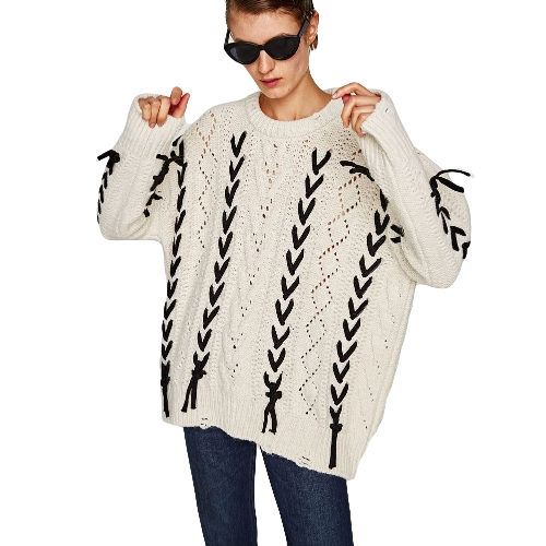 Outono Outono Outono Camisola De Oversize O geométrico de bind Batwing Sleeve Loose Knitted Pullover