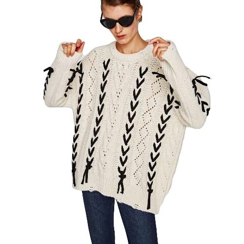 Nuevo suéter de gran tamaño de otoño invierno mujer El geométrico de lazo Batwing manga suéter de punto suelto