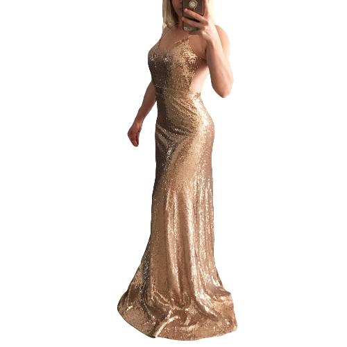 Nuove donne sexy Glitter Paillettes Bodycon Maxi Dress con scollo a V Aperto indietro Zipper Formal Party Sparkly Long Dress