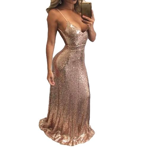 New Sexy Women Glitter Sequin Bodycon Maxi Dress V Neck Open Back Zipper Formal Party Sparkly Long Dress