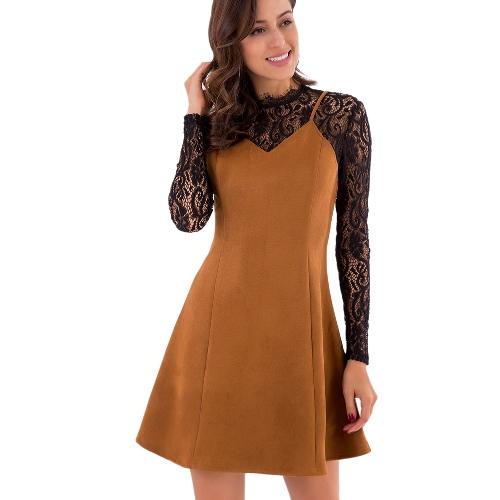 Las nuevas mujeres falsa conjunto de dos piezas vestido de encaje de gamuza empalme Color de contraste Office Lady Mini vestido marrón