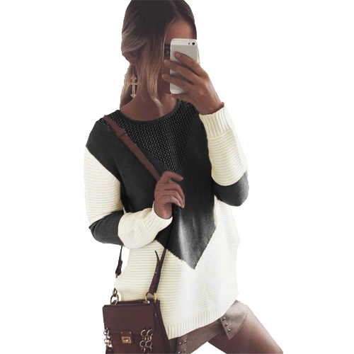 omen Knitted Sweater Contrast Color Round Neck Long Sleeve Hollow Out Autumn Winter Casual Loose Pullover
