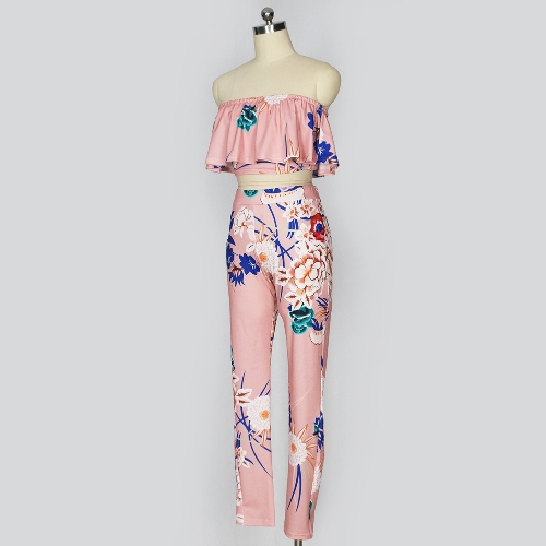 b50c836de5 TOMTOP   Fashion Women Two Piece Set Floral Print Ruffle Off Shoulder  Backless High Waist Bodycon Crop Top ...