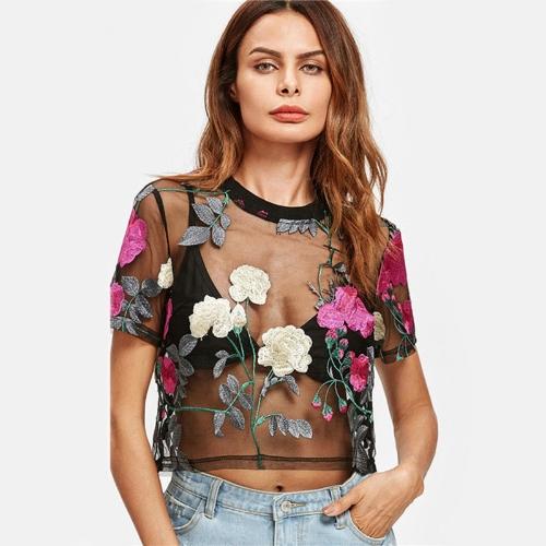 Blusa de manga corta bordada flor de las mujeres atractivas Top bordado verde / rosa