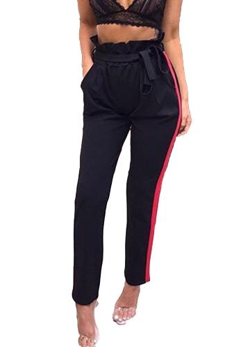 Pantalones largos ocasionales de las mujeres a rayas de cintura alta del vendaje delgados pantalones harem negro / gris
