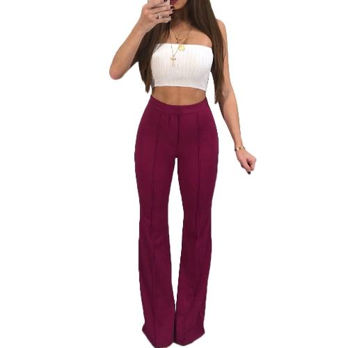 Las mujeres de moda Bell Bottom Pants elásticos de cintura alta Solid Casual Pantalones