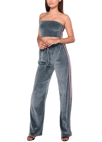 Frauen zwei Stücke Crop Top Hosen weg von der Schulter gestreiften Zip elastische Taille Casual Hosen