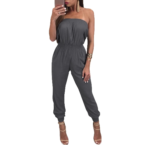 Mujeres del hombro Mono Romper Backless Casual Pantalones largos Slash Neck Monos Playsuit negro / gris