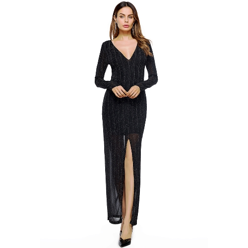 Nuove donne sexy davanti Split Maxi Dress Deep V Neck manica lunga abito formale partito lungo nero / rosso