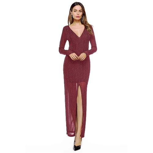Vestido recto largo partido de las nuevas mujeres atractivas Vestido largo partido formal de la manga larga profunda del cuello en V negro / rojo