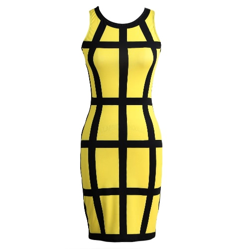 Sexy Women Mini Bodycon Dress Color Block Stripe O Neck Sleeveless Party Clubwear Slim Sundress