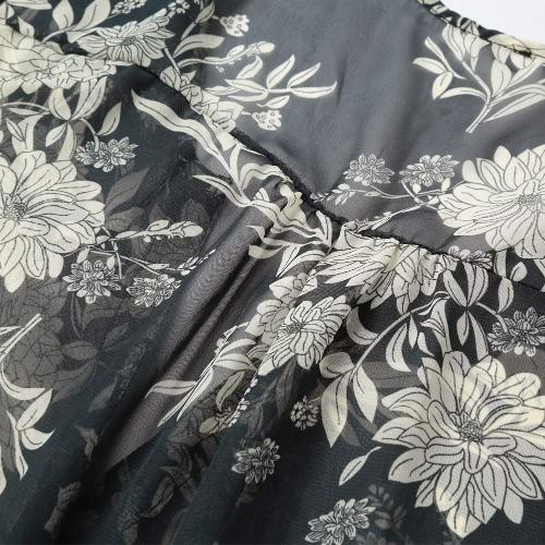 Fashion Women Chiffon Floral Long Shirt Button Front V Neck Asymmetric Hem Thin Shirt Dress Loose Blouse Grey, TOMTOP  - buy with discount