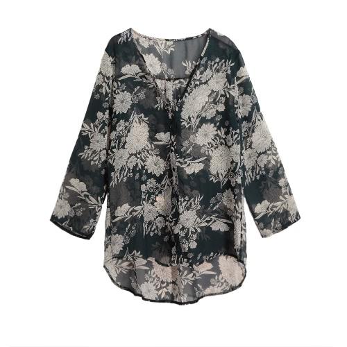 Mulheres Moda Chiffon Floral Longo shirt do Frente V Neck Asymmetric Hem Fino Vestido camisa solta blusa cinza