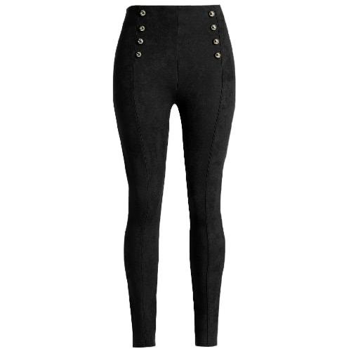 Sexy Women Slim Faux Suede Legginsy Spodnie Stałe przyciski boczne strunowe Eleganckie spodnie fitness Skinny Pencil