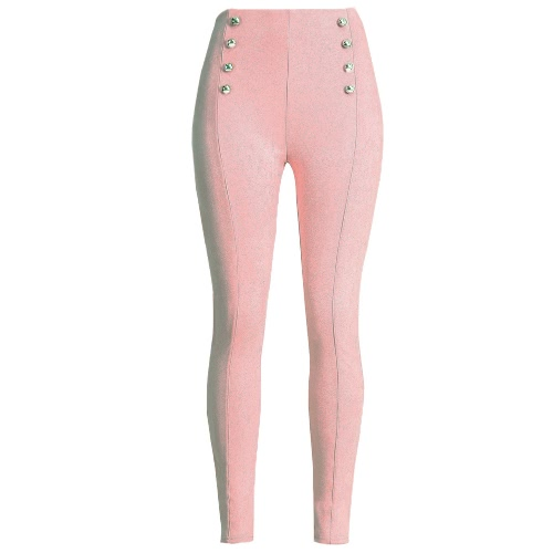 Sexy Women Slim Faux Suede Leggings Trousers Solid Buttons Side Zipper Elegant Fitness Skinny Pencil Pants