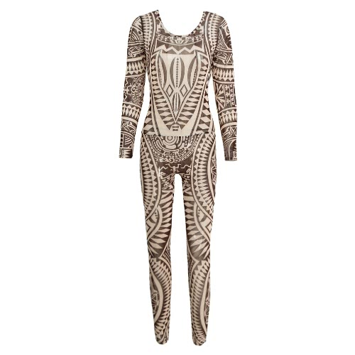 a7bef41a8f1 Sexy Women Bodycon Jumpsuit Semi-Sheer Mesh Geometric Print Long Sleeve  Playsuit Rompers Bodysuit Party