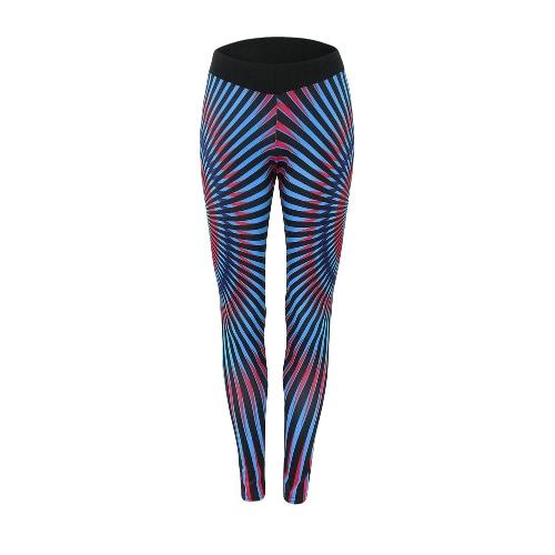 Las mujeres de las polainas pantalones de yoga fitness Contraste rayado Impreso elástico entrenamiento de la gimnasia jogging Medias Pantalones Azul