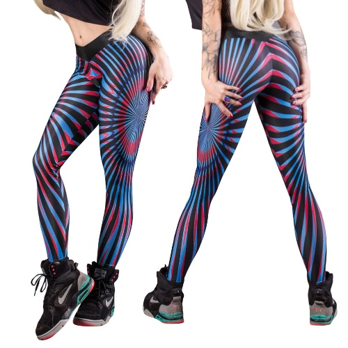 Women Yoga Pants Fitness Leggings Contrast Striped Printed Stretchy Gym Workout Jogging Tights Trousers Blue, TOMTOP  - buy with discount