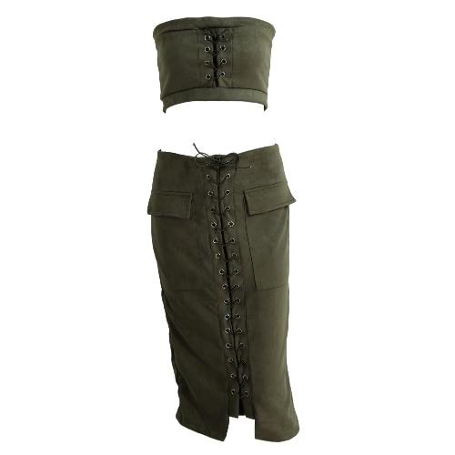 Suits Mulheres Moda Lace Up Suede 2PCS Set Bandeau Top saia de Midi cintura alta bolso do vintage Slit Voltar formal BODYCON