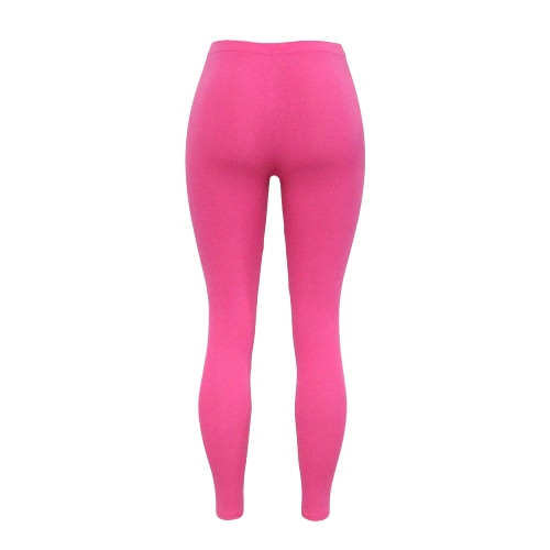 New Women Cotton Leggings Solid Color Skinny Elastic Waist Stretchy Tights Bodycon Pants Trousers Jeggings