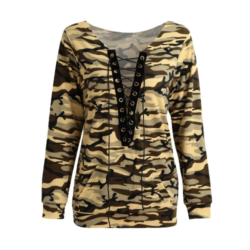 New Sexy Women Sweater Camo Imprimir Lace Up V-Neck mangas compridas Pullover Casual solta Top Brown / verde do exército