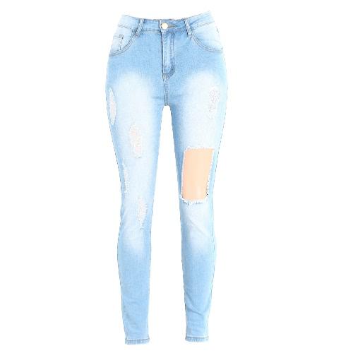 Kobiety Moda wysoką talią dżinsy zgrywanie Zniszczone Spodnie Postrzępiony Hole Zipper Fly Skinny Denim Ołówek Spodnie jasnoniebieski