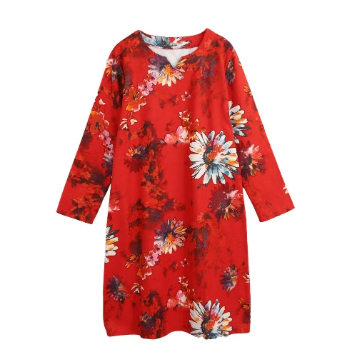 New Mulheres vestido floral vintage impressão O-Long Neck Sleeve bolso solto vestido retro vermelho / azul