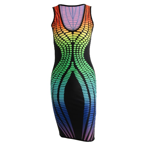ホットセクシーな女性のタイトなドレスのコントラストを印刷スクープネックノースリーブ弾性クラブ着用