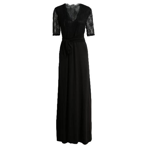 New Moda feminina Maxi Vestido Lace Splice Coxa Dividir V Neck meia manga Belt Magro elegante vestido longo preto / rosa azul / escuro