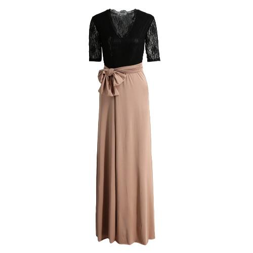 Empalme del muslo nuevas mujeres Maxi vestido de encaje con cuello en V de Split media manga de la correa delgado elegante del vestido largo / rosa / azul oscuro Negro
