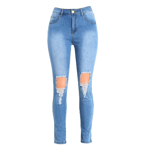 Sexy Women High Waist Ripped Jeans Destroyed Frayed Hole Zipper Fly Skinny Denim Pants Pencil Trousers Blue, TOMTOP  - buy with discount