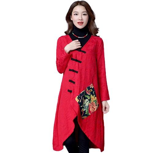 Las mujeres étnico capa del algodón de lino con cuello en V manga larga asimétrica cheongsam Mandarín flojo Outwear la vendimia
