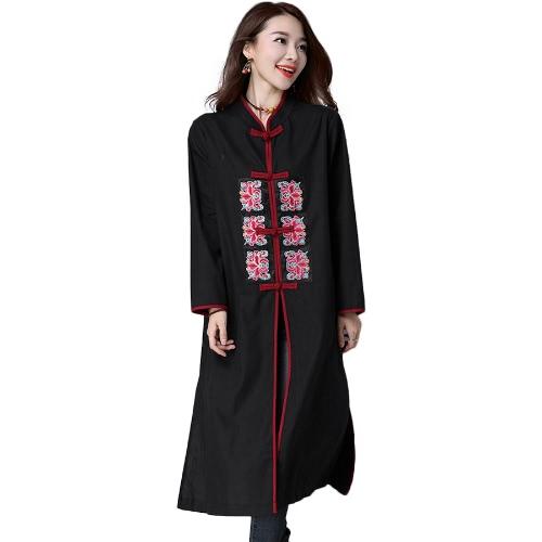 Mulheres Long algodão de linho bordado Brasão Fique Collar Botão mangas compridas Slit sapo Hem solto Maxi Outwear Preto / Borgonha