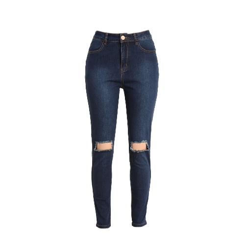Kobiety Ripped Jeans Denim Zniszczony zamek Otwory Slim Skinny Pants Ołówek Spodnie Rajstopy ciemnoniebieska