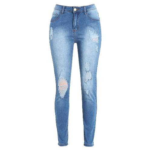 Las mujeres rasgaron los pantalones vaqueros del dril de algodón raído destruida agujero lavada cremallera pantalones flacos del lápiz de los pantalones de las medias azules