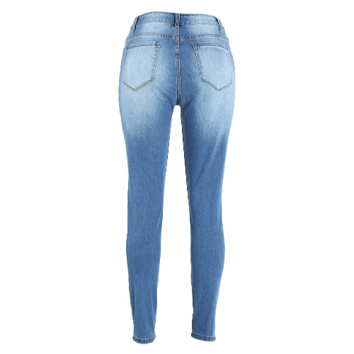 Women Ripped Jeans Denim Destroyed Frayed Hole Washed Zipper Skinny Pants Pencil Trousers Tights Blue, TOMTOP  - buy with discount