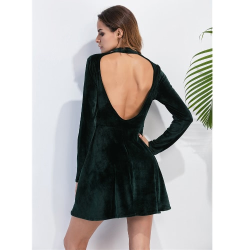 Sexy Women Velvet Mini Dress Choker Backless Long Sleeve Solid Warm Slim A-Line Dress Party Clubwear Green, TOMTOP  - buy with discount