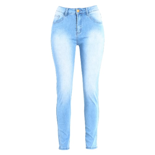 Women Bodycon Jeans Denim Washed Zipper Pockets Casual Skinny Pencil Pants Trousers Tights Blue, TOMTOP  - buy with discount