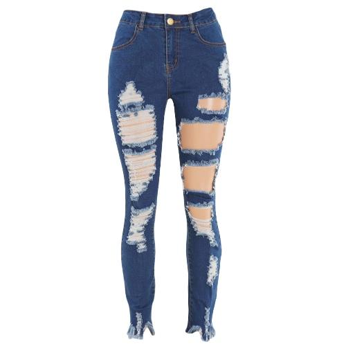 Las nuevas mujeres del dril de algodón pantalones vaqueros rasgados destruida raída agujero de la cremallera bolsillos Casual pantalones flacos del lápiz de los pantalones de las medias azules